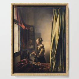 Johannes Vermeer - Girl reading a letter by an open window Serving Tray