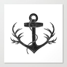 Antlered Anchor Canvas Print