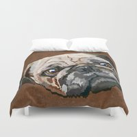 pug Duvet Covers featuring pug by Ancello