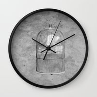 cage Wall Clocks featuring Cloud Cage by Mehdi Elkorchi