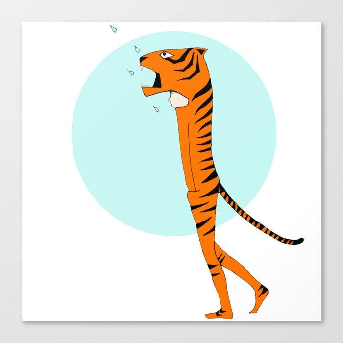 Tiger and raindrops Canvas Print