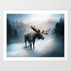 Moose (Low Poly Ice) Art Print
