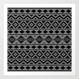 Aztec Essence Ptn III Black on Grey Art Print