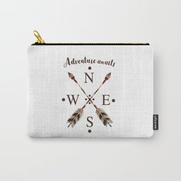 Cardinal directions Compass Arrows Adventure awaits Typography Carry-All Pouch