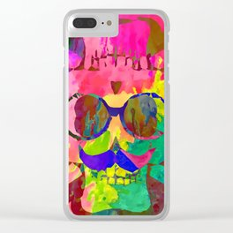 old vintage funny skull art portrait with painting abstract background in red pink yellow green blue Clear iPhone Case