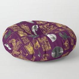 Beautiful Pagan Themed Print - Tarot Cards, Moon Cycles and Ravens Floor Pillow