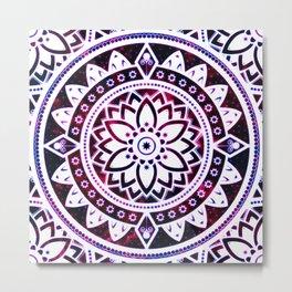 Glowing Flower Mandala Red White Pink Blue Metal Print