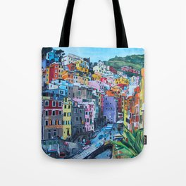Cinque Terre, Italy - hillside with colourful houses and harbour  Tote Bag