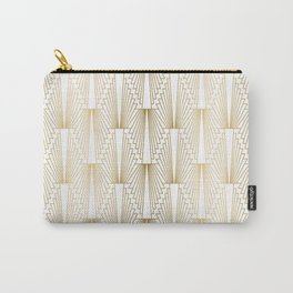 Art Deco pattern gold and white Carry-All Pouch
