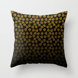 Gold Metallic Foil Photo-Effect Monstera Giant Tropical Leaves Faded on Solid Black Throw Pillow