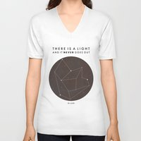 nan lawson V-neck T-shirts featuring There Is A Light by Nan Lawson
