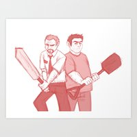 shaun of the dead Art Prints featuring shaun of the dead by Marie Mikolay