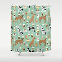 Great Dane coffee cafe dog breed pattern custom pet portrait Shower Curtain