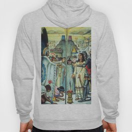 The Meeting of Monteczuma, Malinche, & Cortés 1521, Tenochtitlán by Diego Rivera Hoody