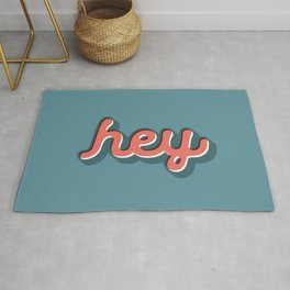 Hey Blue & Red Typography Print Funny Poster Letterpress Style Wall Decor Home Decor Rug