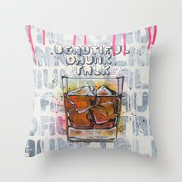 whisky Throw Pillows featuring Whisky on the rock by MiartDesignCreation