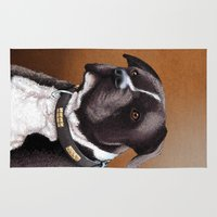 bull terrier Area & Throw Rugs featuring Staffordshire bull terrier 2 by Carl Conway