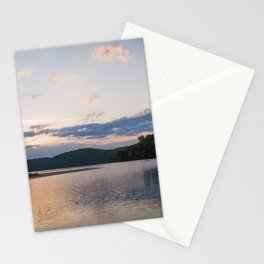 Sunrise Over Lake   Nature Landscape Photography of Pink Blue Sky Sunrise over Lake and Mountains Stationery Cards
