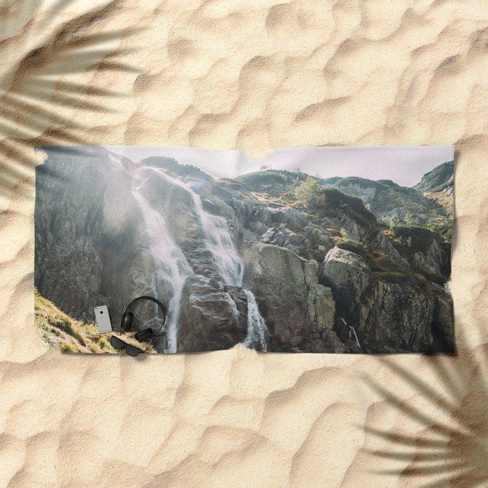 Waterfall In Sunlight Beach Towel