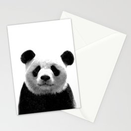 Black and white panda portrait Stationery Cards