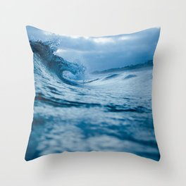 Blue Sea and Waves Throw Pillow