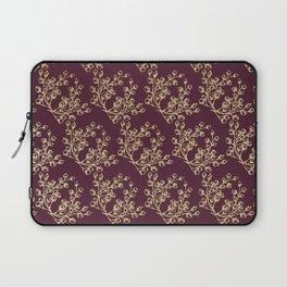 Elegant burgundy faux gold glitter berries floral Laptop Sleeve