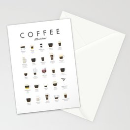 Coffee Chart - Mixed Drinks Stationery Cards