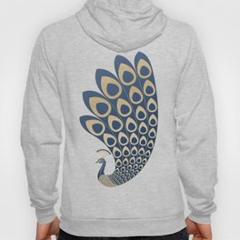 Blue and Gold Art Deco Peakock Hoody
