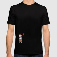 Accordion and Red Balloon Mens Fitted Tee Black MEDIUM