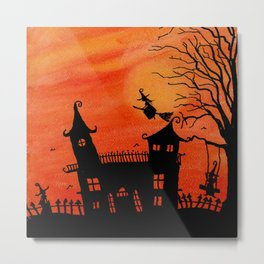 Haunted House Witch Play Metal Print