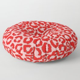 Bold Modern Red Pink Leopard Animal Print Floor Pillow