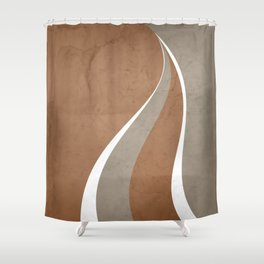 Contemporary Abstract Swerves in Cinnamon and Taupe Shower Curtain
