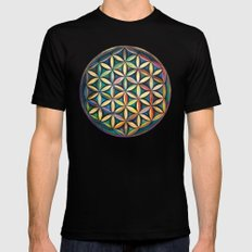 Flower of Life Mens Fitted Tee Black LARGE