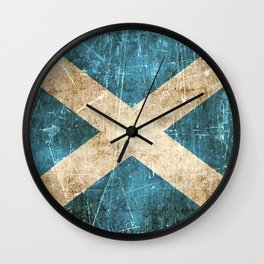 Vintage Aged and Scratched Scottish Flag Wall Clock