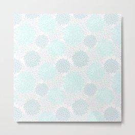 Modern teal pastel blue white elegant floral pattern Metal Print