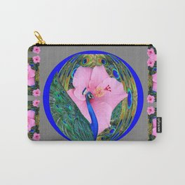 GREY PINK HIBISCUS FLOWERS & BLUE-GREEN PEACOCK Carry-All Pouch