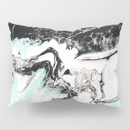 mint black and white marble Pillow Sham