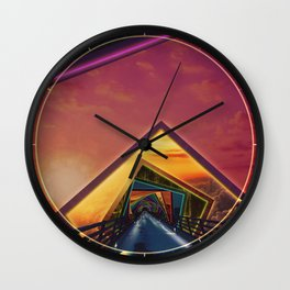 Bridge of a Thousand Colors, a Beautiful Rainbow Fractalscape Wall Clock