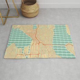 Seattle Map Retro Rug