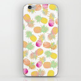 Tropical neon pink teal watercolor faux gold glitter pineapple iPhone Skin
