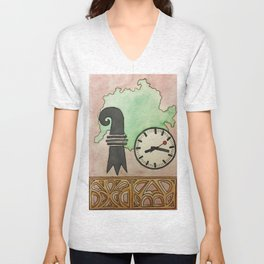 Swiss Clock  Unisex V-Neck