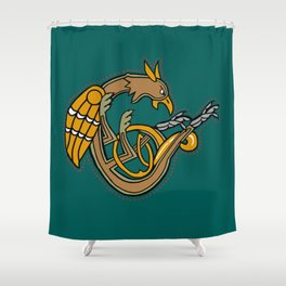 Celtic Medieval Griffin Letter C2019 Shower Curtain