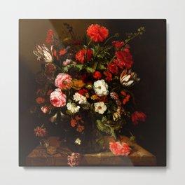 "Abraham van Beyeren ""Flower Still Life with a Timepiece"" Metal Print"