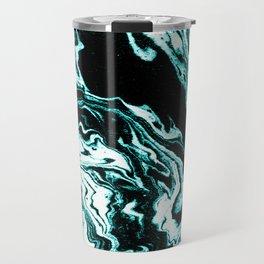 Suminagashi marble turquoise teal marbled japanese minimalist art decor Travel Mug