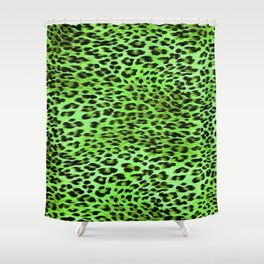 Green Tones Leopard Skin Camouflage Pattern Shower Curtain