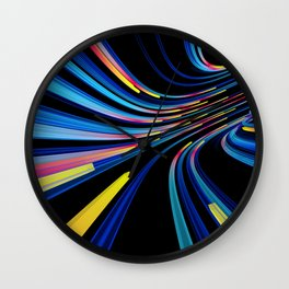 flow of neon lines in a tube Wall Clock