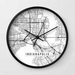 Indianapolis Map, USA - Black and White Wall Clock