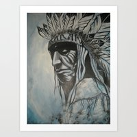 native american Art Prints featuring Native American by Diablues Hands