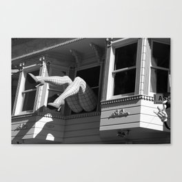 Amazing Legs Out Of A Window Canvas Print