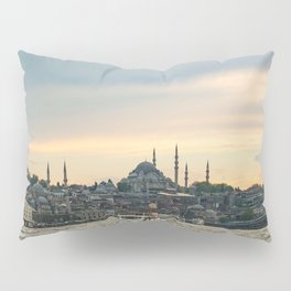 Turkish Sunset | Istanbul Turkey City Skyline Landscape Yellow Orange Color Sky Water Waves Pillow Sham